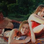 Figurative, realistic painting of three friends on the beach.